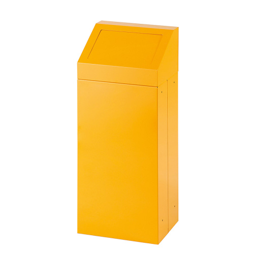 Waste bin with removable lid - yellow