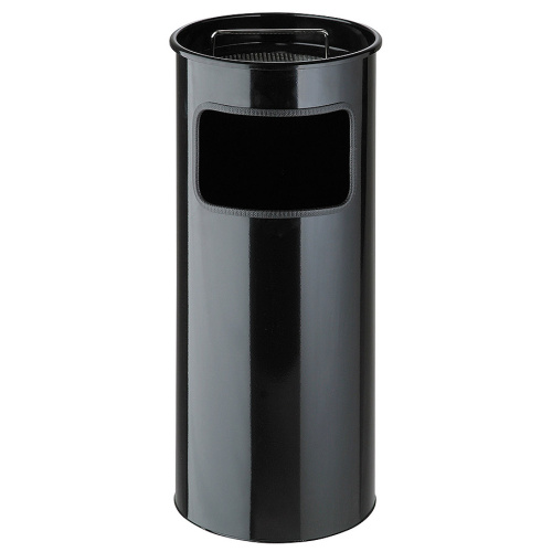 Waste bin with ashtray - black