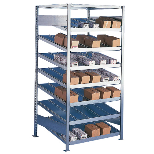 Shelf rack with sloping shelves, one-sided - extension panel (500mm deep)