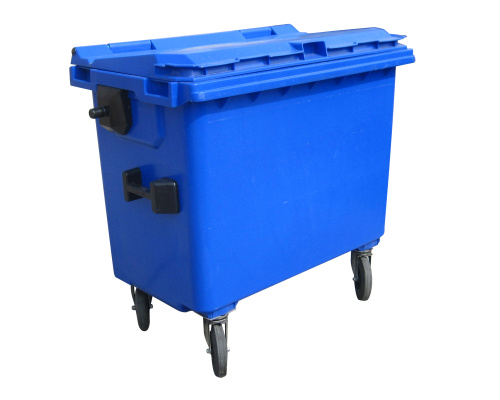 Plastic container 770 l flat lid-blue