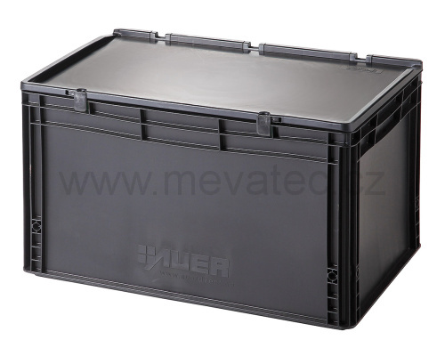 Plastic EURO crate 600x400x335 mm with a lid - ESD