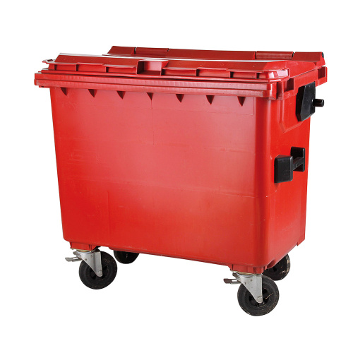 Plastic container 660 l flat lid-red
