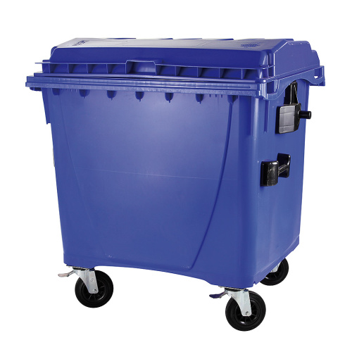 Plastic container 1100 l flat lid-blue