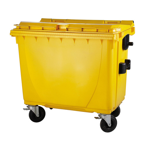 Plastic container 660 l flat lid-yellow