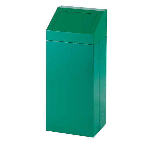 Waste bin with removable lid - green
