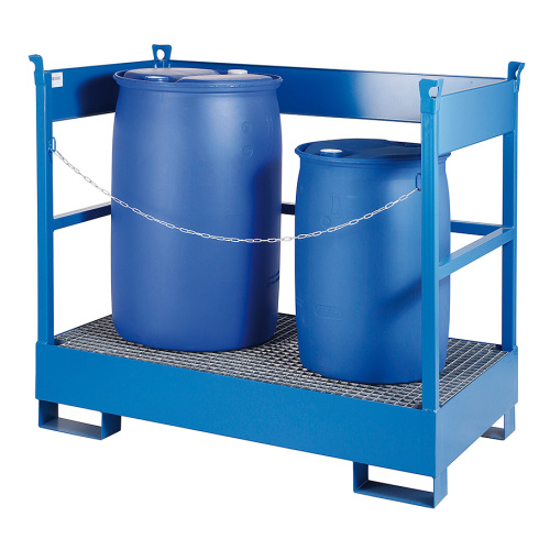 Pallet for transport - 2 barrels - galvanized
