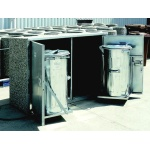 Station for waste bins - 2x metal