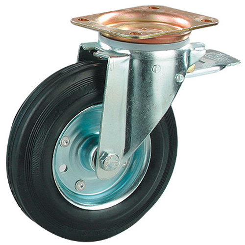 Wheel for container - with brake