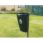 Plastic litter bin without lid - black