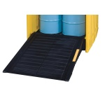 Access ramp for covered plastic trapping tub