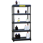 Plastic rack shelf with catch basins