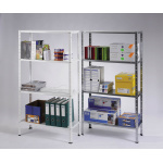 Universal rack with 4 shelves - varnished - 50 kg/shelf