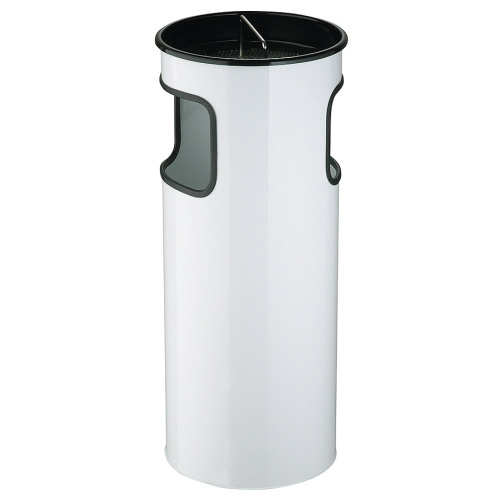 Waste bin with ashtray - white