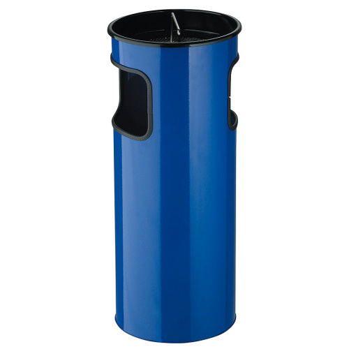 Waste bin with ashtray - blue