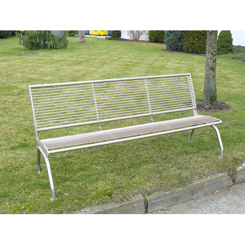 Stainless bench with backrest - 3 seats