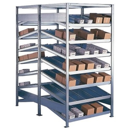 Shelf rack with sloping shelves, double-sided - basic field (1000mm deep)