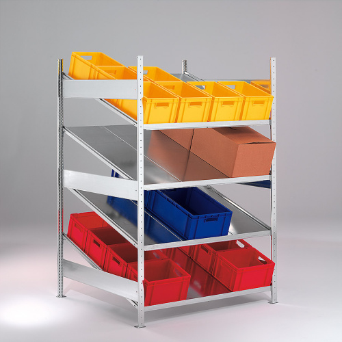 Rack for shelf rack with sloping shelves