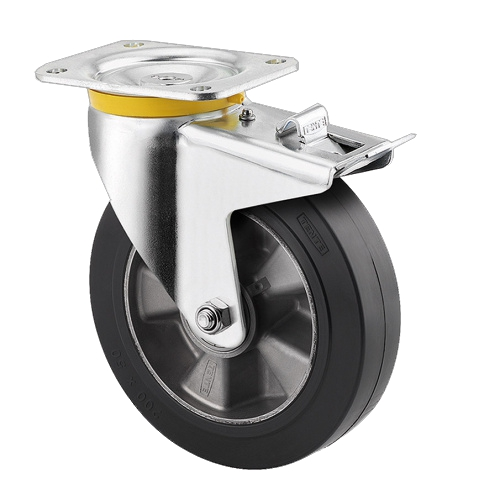 Machine wheel - rotary wheel with brake - 200 mm