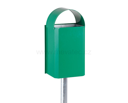 Waste bin with galvanized liner - green