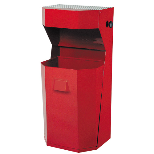 Exterior waste bin with an ashtray 50 l. - red