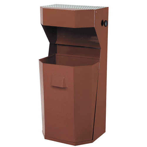 Exterior waste bin with an ashtray 50 l. - brown
