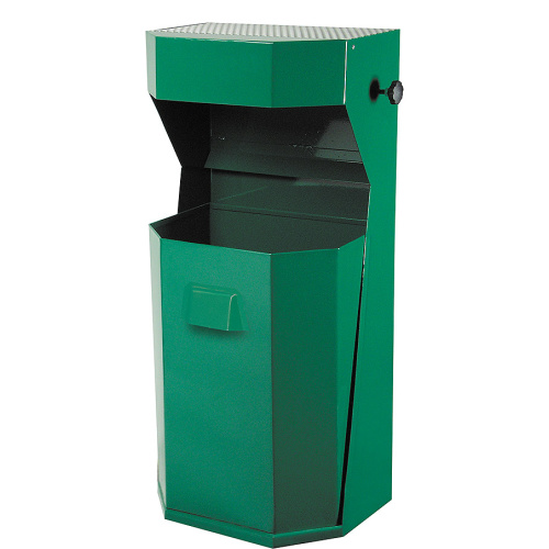 Exterior waste bin with ashtray 50 l. - green