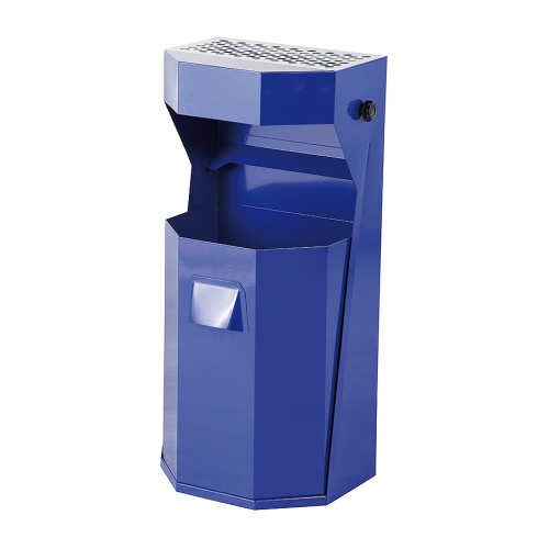 Exterior waste bin with ashtray 50 l. - blue