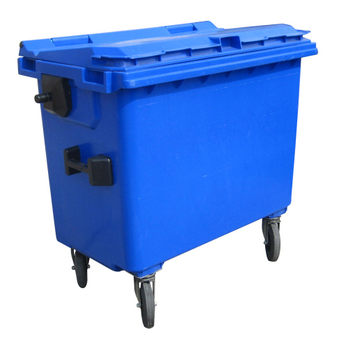 Plastic container 660 l flat lid-blue