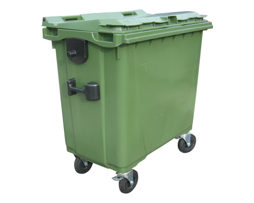 Plastic container 660 l flat lid-green