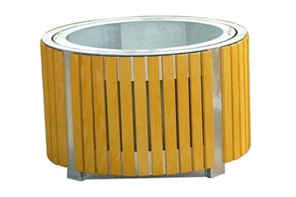 Container for plants with wood lining - circle