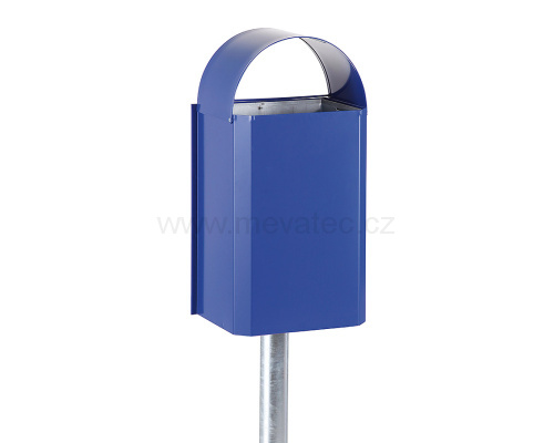 Waste bin with galvanized liner - blue