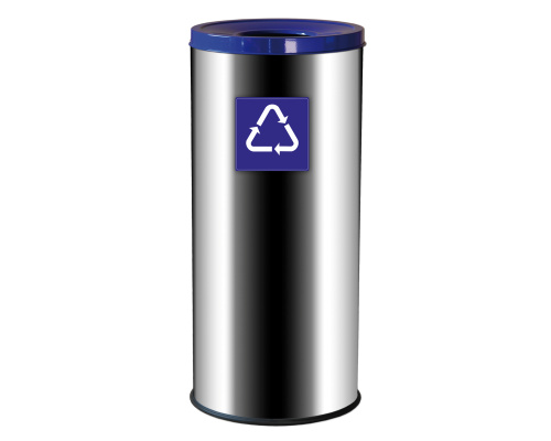 Outdoor stainless bin for waste sorting - blue