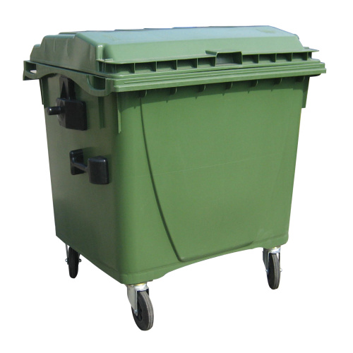 Plastic container 1100 l flat lid-green