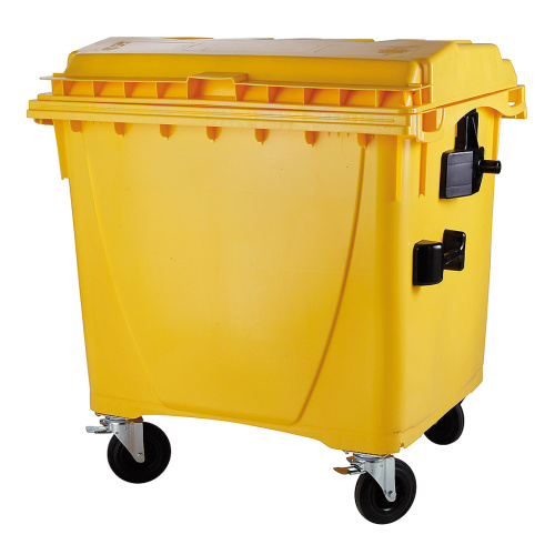 Plastic container 1100 l flat lid-yellow