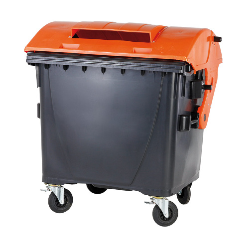 Plastic container 1100 lt. - black/orange lid