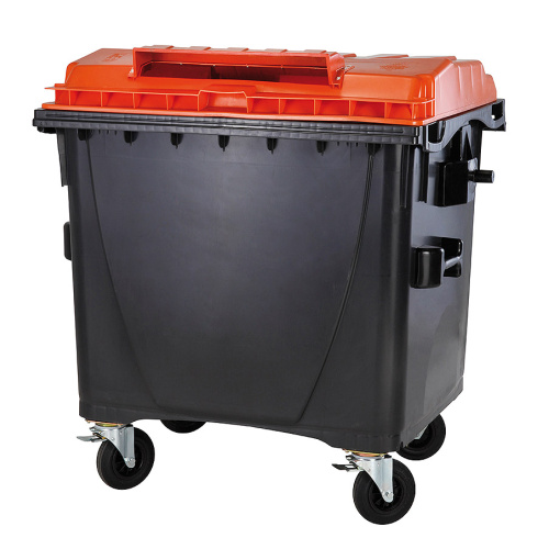 Plastic container 1 100 l -. black/orange lid without lock