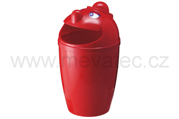Waste bin with face - red