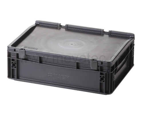 Plastic EURO crate 400x300x135 mm with a lid - ESD