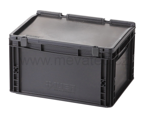 Plastic EURO crate 400x300x235 mm with a lid - ESD