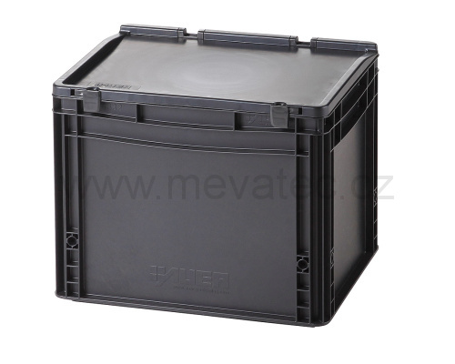 Plastic EURO crate 400x300x335 mm with a lid - ESD