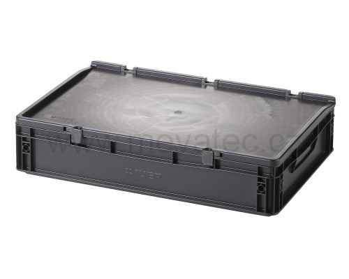 Plastic EURO crate 600x400x135 mm with a lid - ESD
