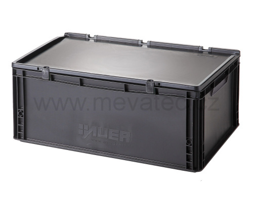 Plastic EURO crate 600x400x235 mm with a lid - ESD