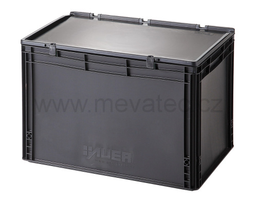 Plastic EURO crate 600x400x435 mm with a lid - ESD