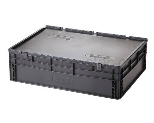 Plastic EURO crate 800x600x235 mm with a lid - ESD