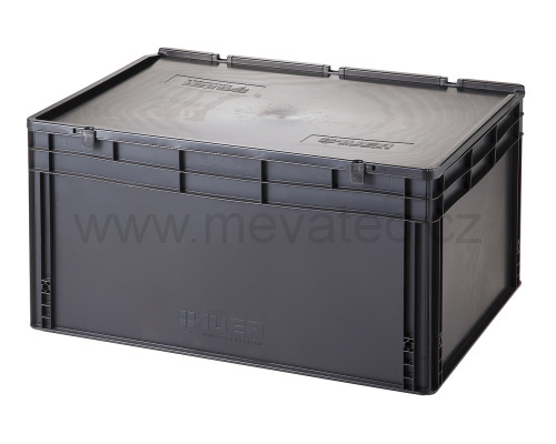 Plastic EURO crate 800x600x435 mm with a lid - ESD