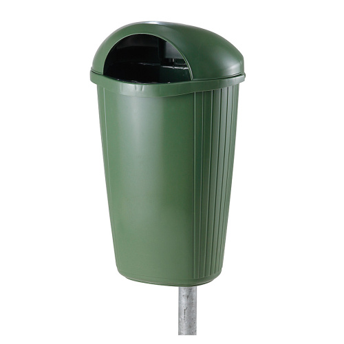 Plastic waste bin blue green