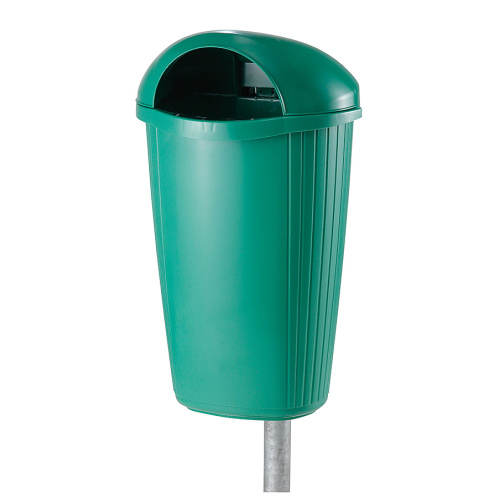 Plastic waste bin blue light green