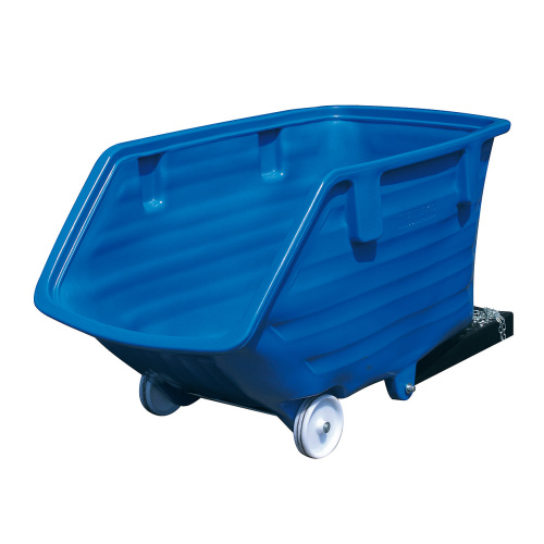 Plastic tipping container - coulisses and wheels