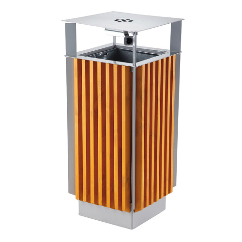 Waste bin with wood panelling and ashtray