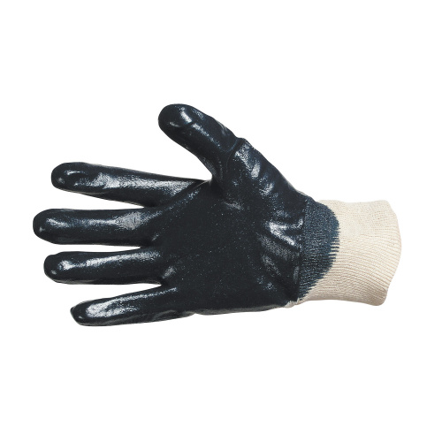 Gloves sewn from cotton knitted fabric
